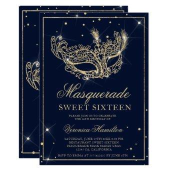 Masquerade mask navy blue gold glitter Sweet 16 Invitation