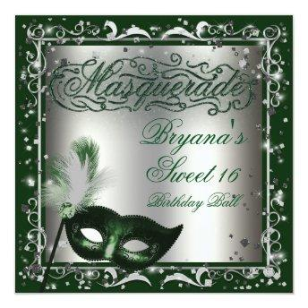 Masquerade Mask Silver & Green Birthday Party Invitation