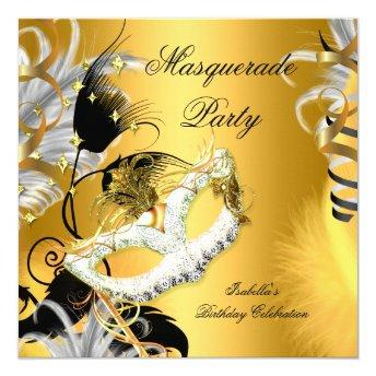 Masquerade Party Birthday Mask Black Gold
