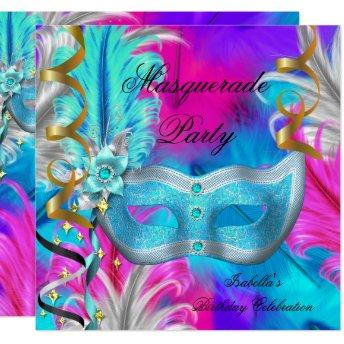 Masquerade Party Birthday Teal Mask Purple Pink Invitation