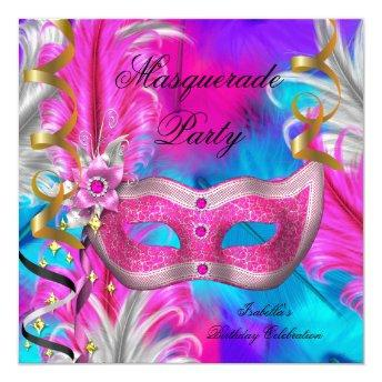 Masquerade Party Birthday Teal Purple Pink