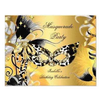 Masquerade Party Birthday Wild Mask Black Gold 2