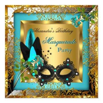 Masquerade Party Gold Teal Black Mask Rose