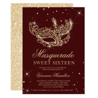 Masquerade red gold glitter mask Sweet 16 Invitation
