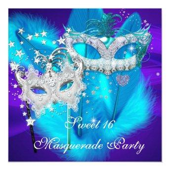 Masquerade Sweet 16 Purple Teal Blue Mask