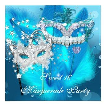 Masquerade Sweet 16 Teal Blue Feather Mask 3