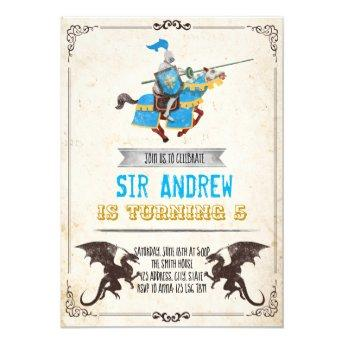 Medieval knight and dragon birthday party invitation