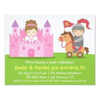 Medieval Princess and Knight Twins Birthday Party Invitation