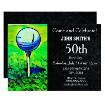 Men's Custom Golfing Birthday Sports Father Invitation
