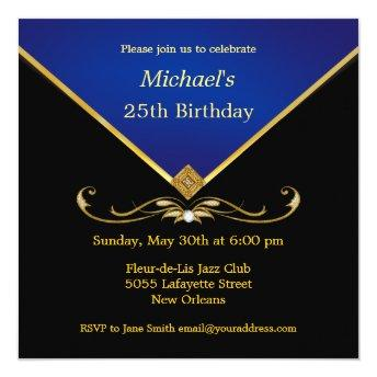 Men's Elegant Gold Blue Birthday Party Invitation