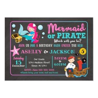 Mermaid and Pirate Joint Birthday Invitation