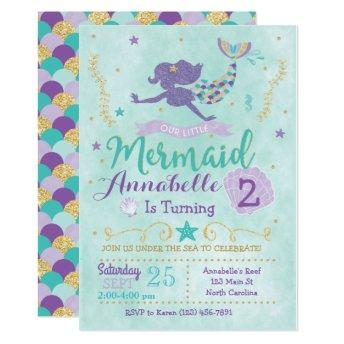 Mermaid Birthday Party  Purple Teal Gold