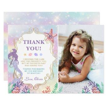 Mermaid Birthday Under The Sea Thank You Invitation