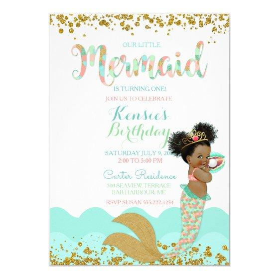 Mermaid Girl African American Girl Peach Mint Gold Invitation