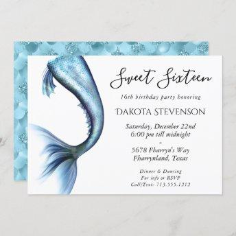 Mermaid Glitz Sweet 16 | Turquoise Princess Blue Invitation