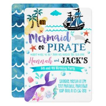 Mermaid Pirate Birthday Invitation Party Dual