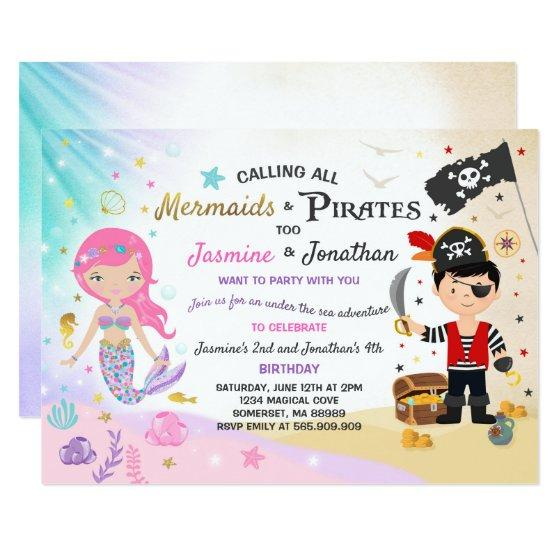206 Mermaid Pirate Birthday Invitation Siblings Party