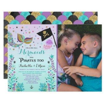 Mermaid & Pirate Birthday Sibling Boy Girl Invite