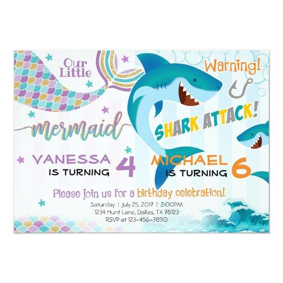 216 Mermaid Shark Birthday Party Invitation Siblings