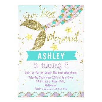 mermaid Tail Birthday invitation