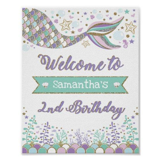 905 Mermaid Welcome Sign 2nd Birthday Sea Pool Party