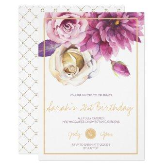 Metallic Floral 21st Birthday Party Invitation
