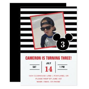 Mickey Mouse | Black & White Stripe Photo Birthday Invitation