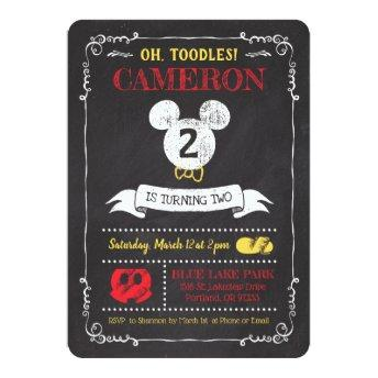 Mickey Mouse Icon Chalkboard Invitation