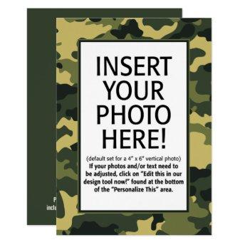 military camouflage Birthday with Photo Invitation