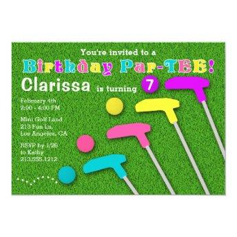 Mini Golf Par-Tee Putt Putt Girl Birthday Invitation