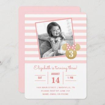 Minnie Mouse | Gold & Pink Striped Photo Birthday Invitation