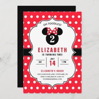 Minnie Mouse | Red & White Polka Dot Birthday Invitation