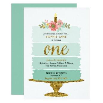 Mint Green Ombre Cake First Birthday Invitation