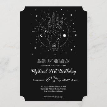 Modern 21 Birthday Fortune Teller Palmistry Magic Invitation