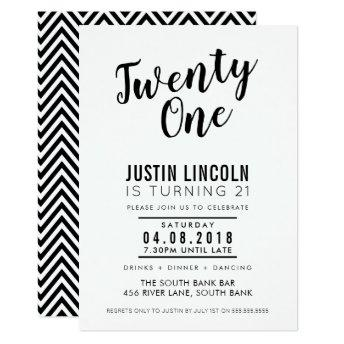 MODERN 21ST birthday party INVITE plain black