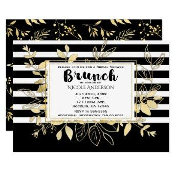 Modern Black Gold Botanical Glamour Bridal BRUNCH Invitation