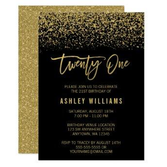 Modern Black Gold Faux Glitter 21st Birthday Invitation