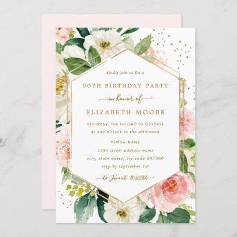 Modern Blush Gold Floral 90th Birthday Invitation