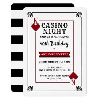 Modern Casino Night Birthday Party Invitation