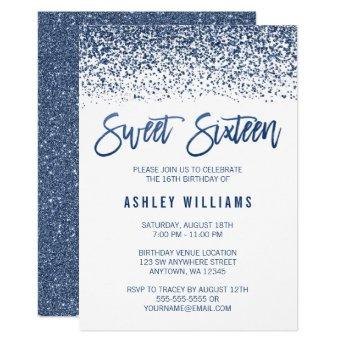 Modern Faux Navy Blue Glitter Sweet 16 Birthday Invitation