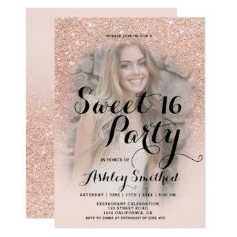 Modern faux rose gold glitter ombre photo Sweet 16