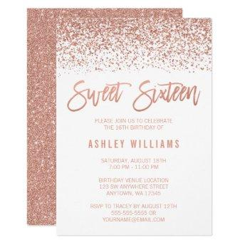 Modern Faux Rose Gold Glitter Sweet 16 Birthday