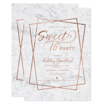 Modern faux rose gold script marble Sweet 16 Invitation