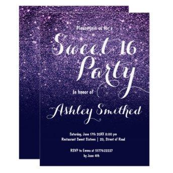 Modern girly chic navy blue glitter ombre Sweet 16 Invitation