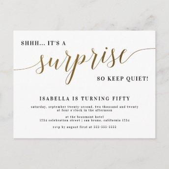 Modern Gold Stylish Script Surprise Birthday Party Invitation PostInvitation