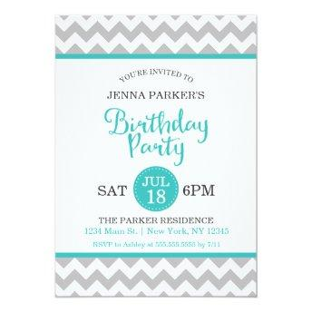 Modern Gray and Turquoise Chevron Birthday Party
