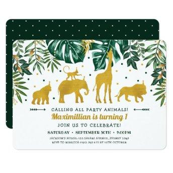 Modern Green & Gold Safari Animals 1st Birthday Invitation