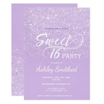 Modern lavender glitter ombre purple Sweet 16 Invitation