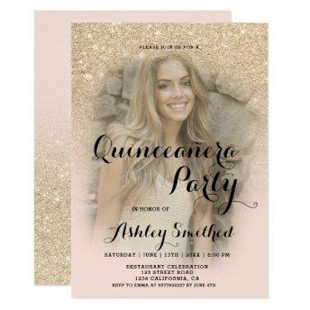 Modern light gold glitter ombre photo Quinceañera Invitation