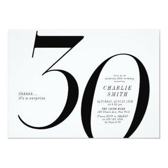 Modern minimalist black and white 30th birthday invitation